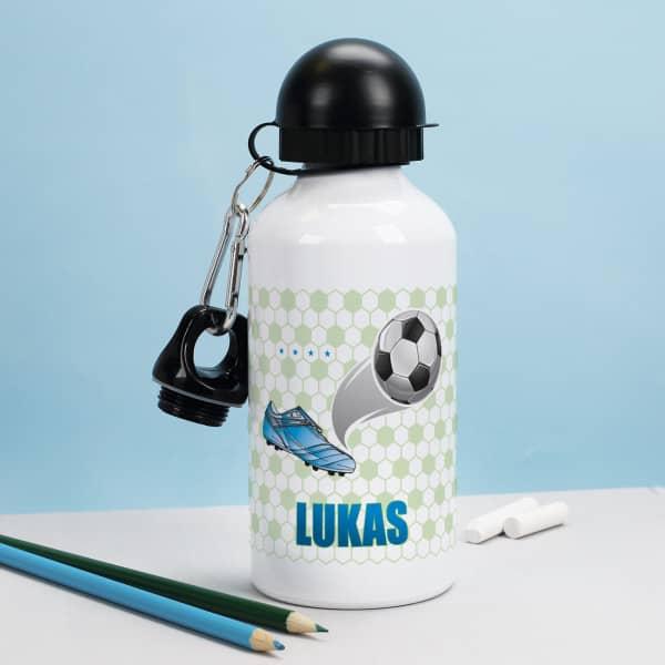 Trinkflasche mit Fußball-Motiv und Name