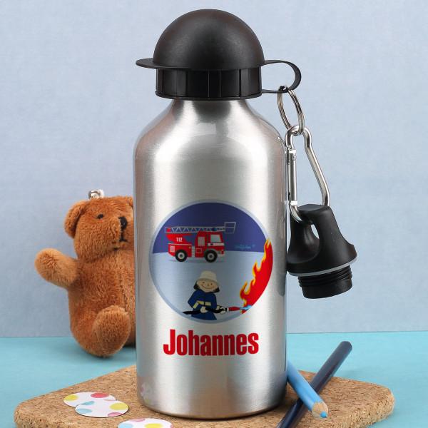 Silberne Trinkflasche mit Feuerwehrmann Motiv
