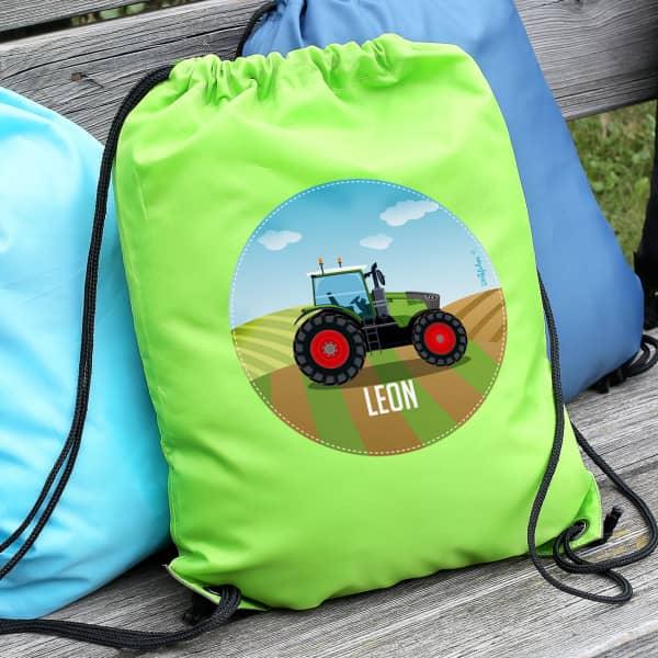 Grüner Sportbeutel mit Traktor und Name