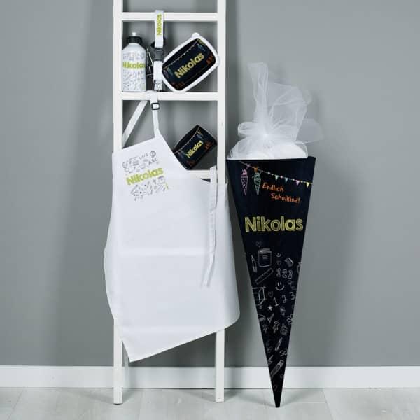 Großes Einschulungs-Set mit Zuckertüte, Trinkflasche, Geldbörse, Schürze, Brotdose, Schlüsselanhänger und Name bedruckt