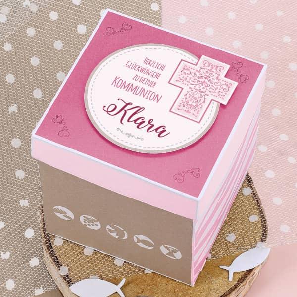 Rosafarbene Überraschungsbox zur Kommunion, für Geldgeschenke und Gutscheine
