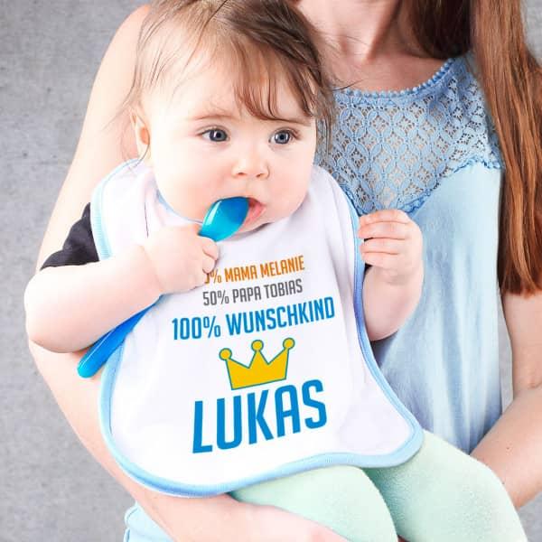 Weiß-blaues Lätzchen für Babys