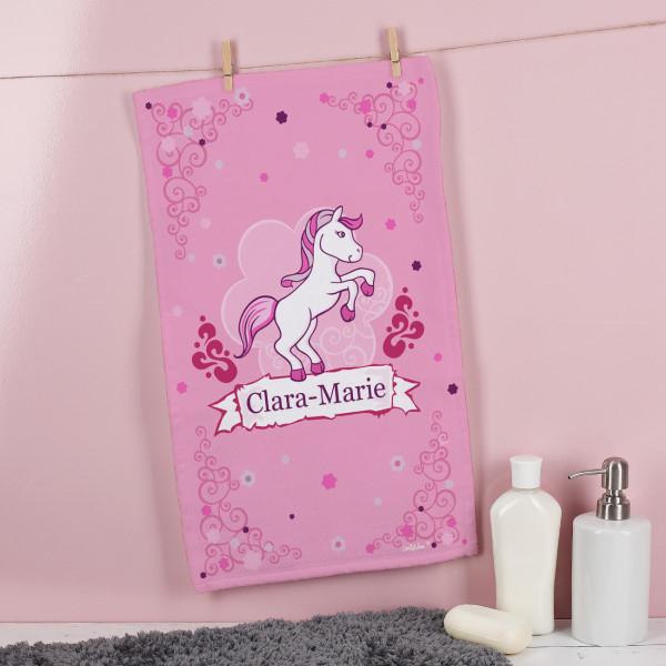Kleines Handtuch mit Pink Pony und Ihrem Wunschnamen