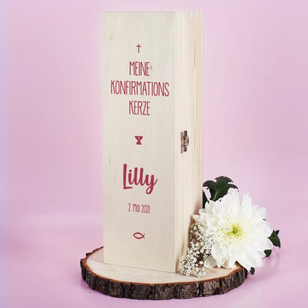 Kerzenbox zur Konfirmation - mit Name und Datum in rosé