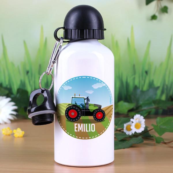 Trinkflasche mit grünem Traktor  und Name