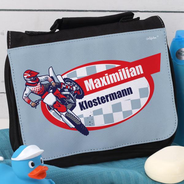 Waschtsche für Kinder mit Motorrad, Wunschname und Wunschtext