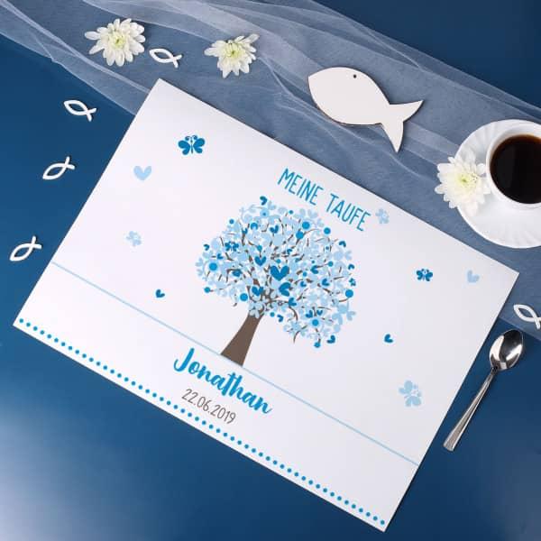 Platzdeckchen mit Lebensbaum in Blau