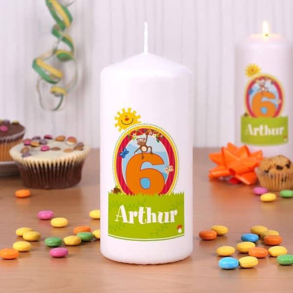 Kerze zum Kindergeburtstag mit extra großer Zahl und Wunschname