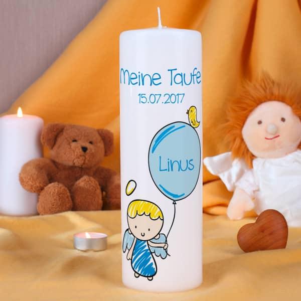 Kerze für Jungen mit Schutzengel zur Taufe