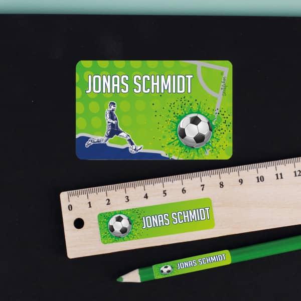 Fußball - Aufkleberset mit Name, in 3 Größen