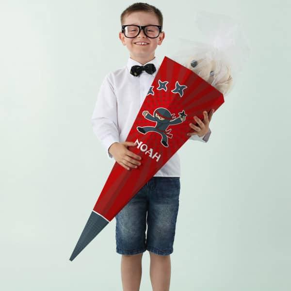 Schultüte mit Name, 80 cm rote Ninja