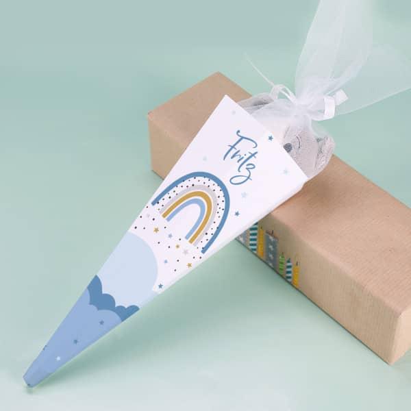 Zuckertüte für Geschwister mit personalisiertem Regenbogen Aufdruck