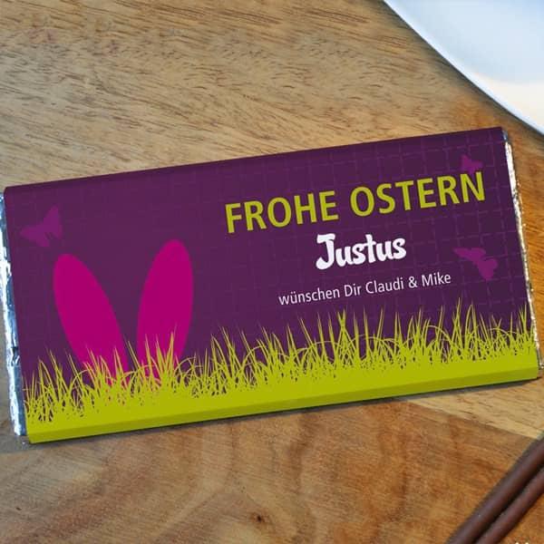Osterschokolade mit Namen und Text