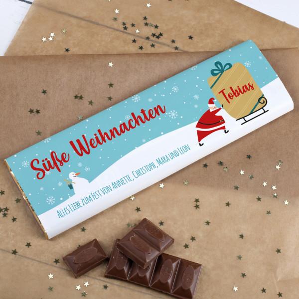 XL Schokolade mit Weihnachtsmann, Name und Wunschtext