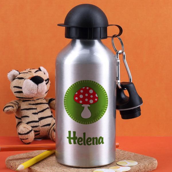 Silberne Trinkflasche mit Glückpilz und Wunschname bedruckt