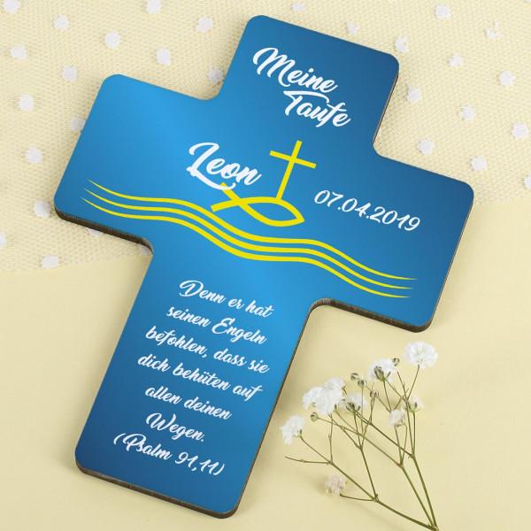Taufkreuz für Jungen in royalem blau mit gelben Fisch, Kreuz und Wellen, Datum, Name und Wunschtext