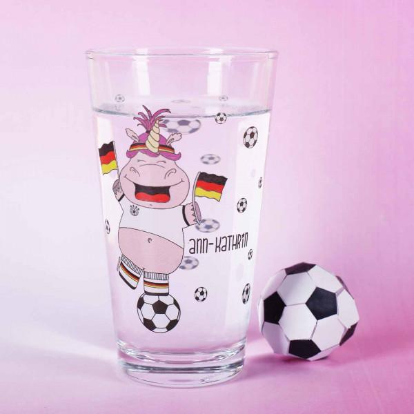 Trinkglas mit WM-Knuddelhorn und Wunschname