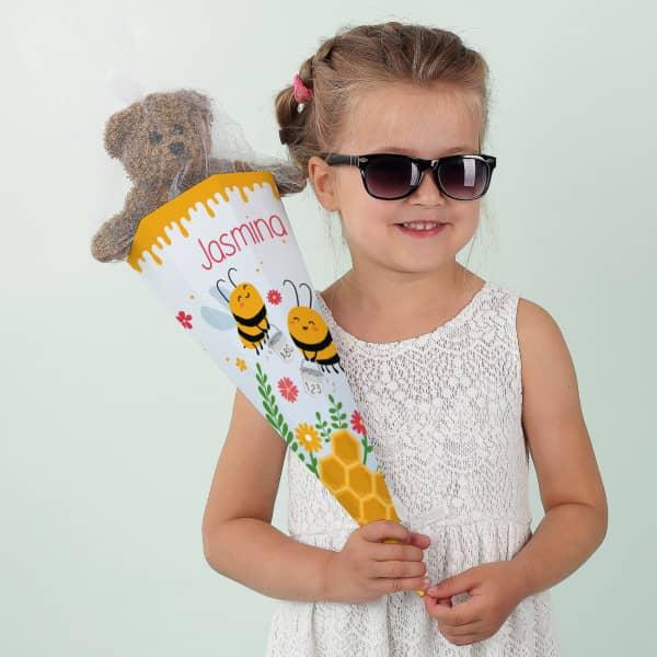 Kleine Bienchen Zuckertüte für Geschwister mit Name personalisiert