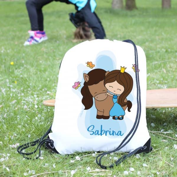 Sportbeutel für Mädchen mit Prinzessin und Pferd