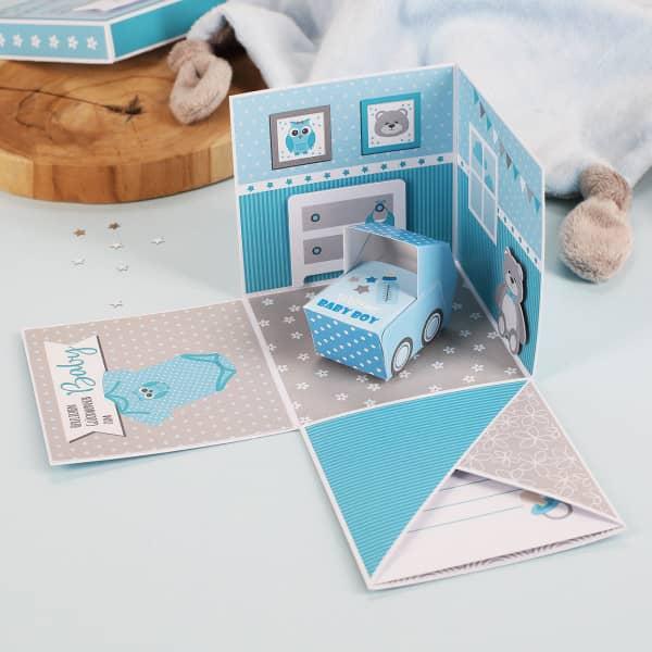 Überraschungsbox zur Geburt, Babygeschenk für Jungen Explosionsbox offen