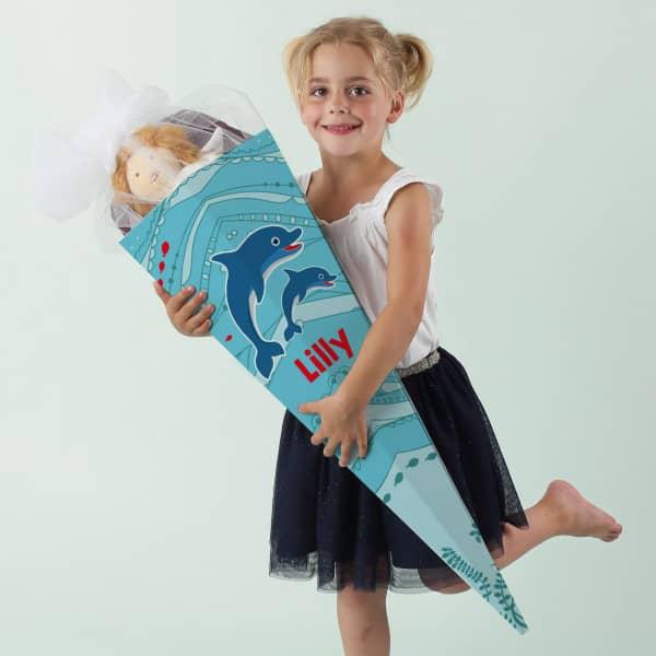 Große Schultüte mit Delfinen und Name