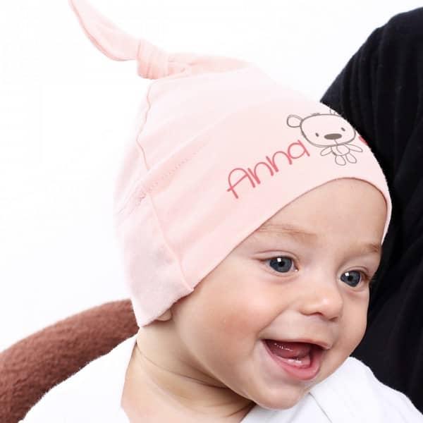 Babymütze in Rosa mit Striefchen® Aufdruck