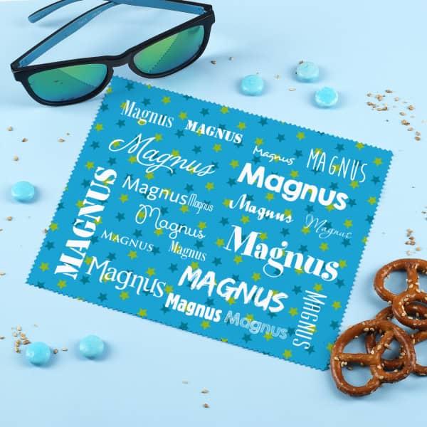 Brillenputztuch in blau mit deinem Namen