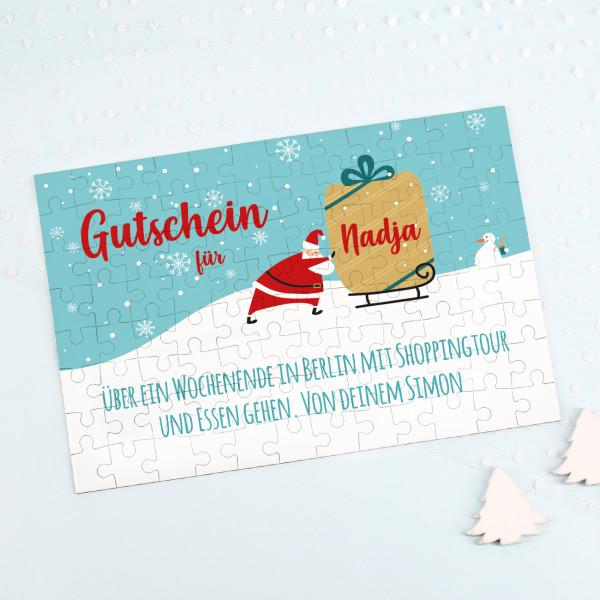 Gutschein-Puzzle zu Weihnachten mit Name und Wunschtext, 96 Teile