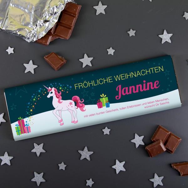 300g Milchschokolade zu Weihnachten mit Einhorn