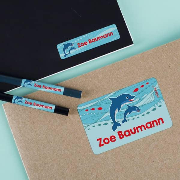Aufkleber für Kinder mit Delfinen und Name
