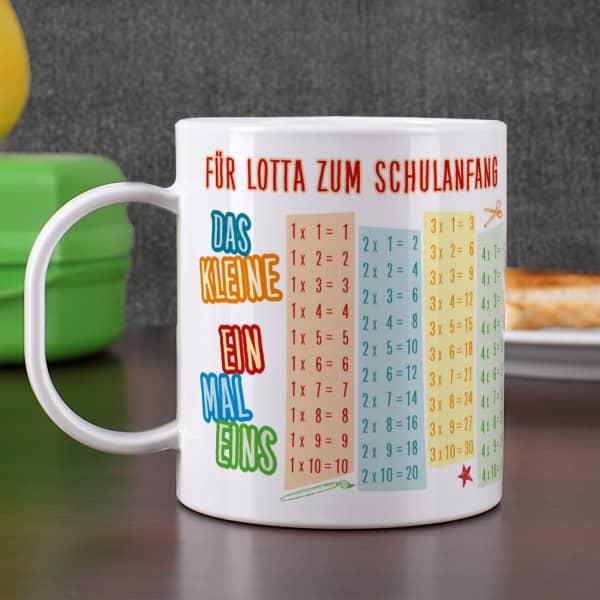 Tasse zum Schulanfang mit Einmaleins und Wunschtext