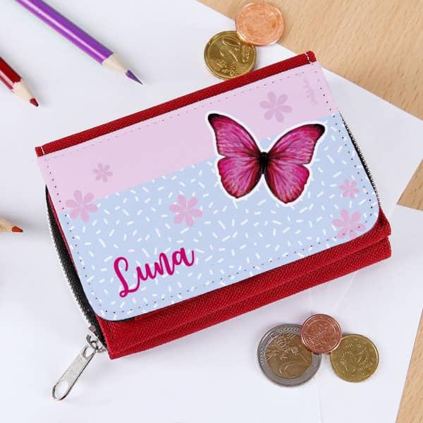 Kindergeldbörse mit Schmetterling und Name