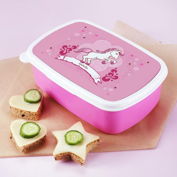 Brotdose in Pink mit pinkem Pony als Motiv und mit Name personalisiert