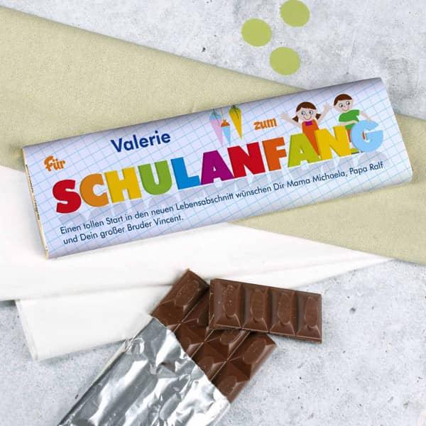 300g Schokolade mit Personalisierung zur Einschulung