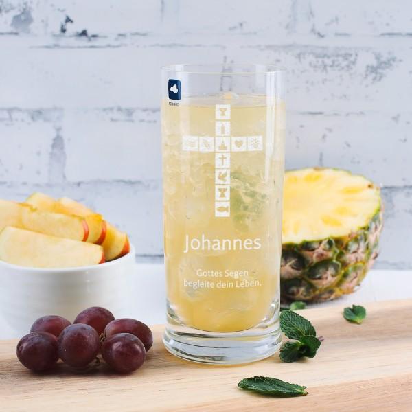 Trinkglas zur Kommunion, Konfirmation mit Name und Wunschtext