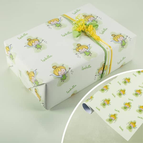 Rolle Geschenkpapier mit kleiner Fee und Wunschname