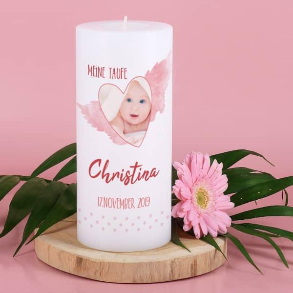 Kerzen Teelichthalter Zur Taufe Mit Foto Name Datum Und Wunschtext