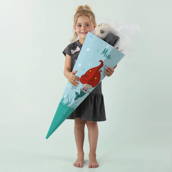 Zuckertüte mit kleiner Meerjungfrau und Wunschname