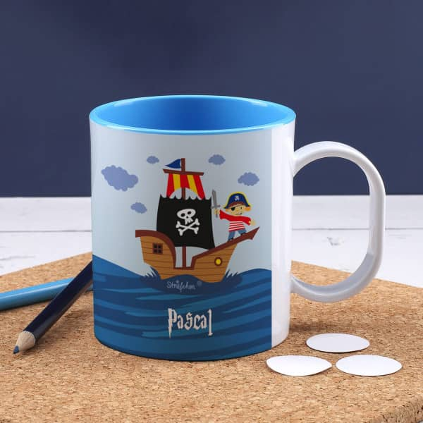 Kindertasse mit Pirat und Ihrem Wunschnamen bedruckt