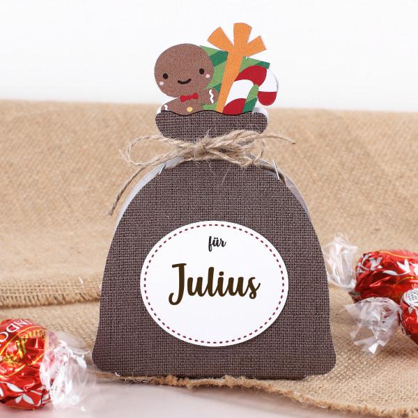 Gefülltes Weihnachtssäckchen mit Lindorkugeln und Name Ihrer Wahl