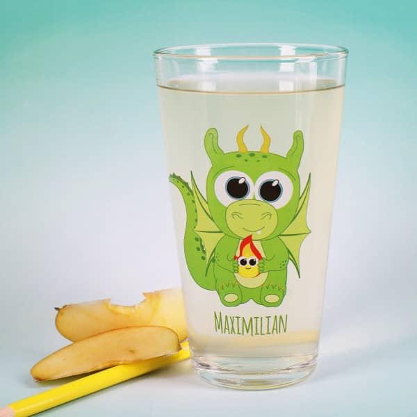 Bedrucktes Trinkglas mit Drache