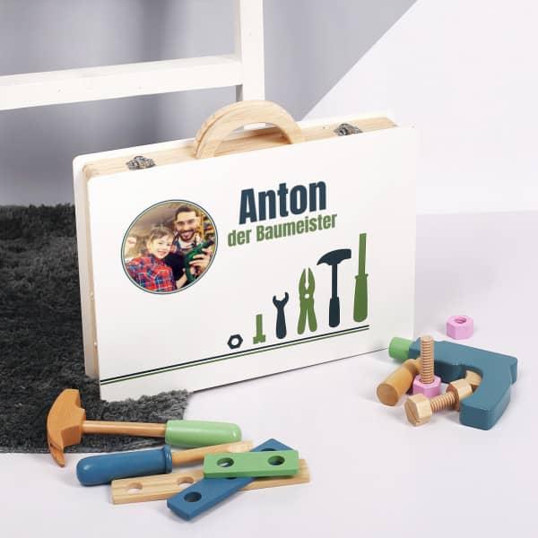 Bedruckter Werkzeugkoffer aus Holz mit Foto