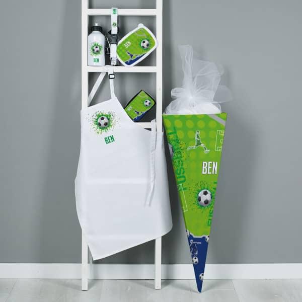 Großes Geschenkset zur Einschulung mit gefüllter Zuckertüte und Fußball Motiv mit Name
