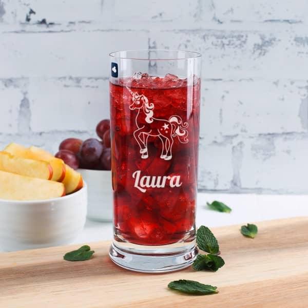 Einhorn Trinkglas mit Name