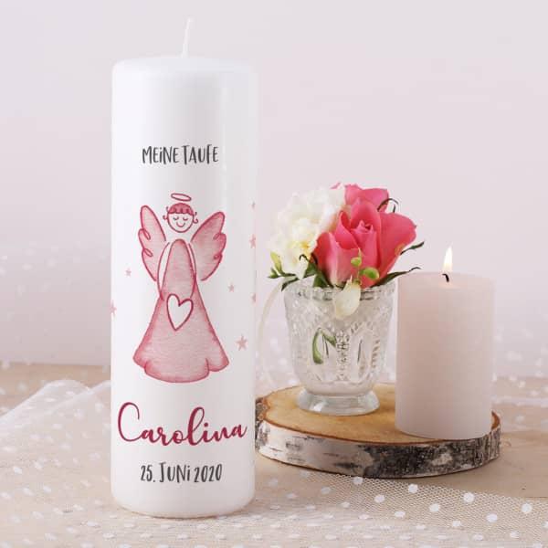 Schutzengel - Taufkerze in rosa mit Name, Datum, Taufspruch