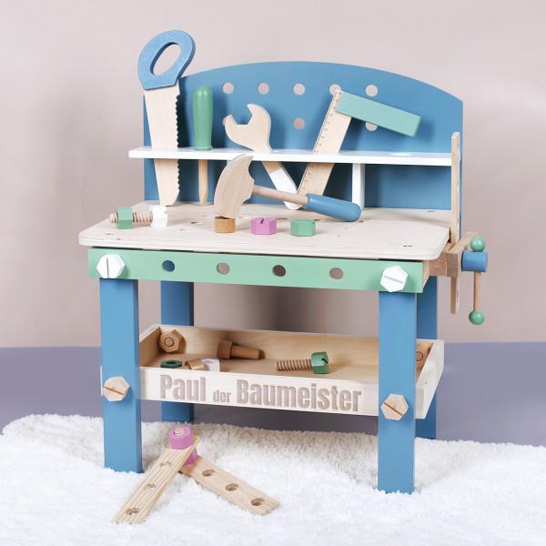 Blau-grüne Werkbank aus Holz für das Kinderzimmer