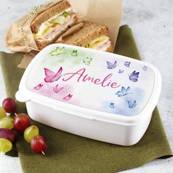 Lunchbox mit Schmetterlingemotiv und personalisiert