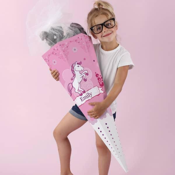 Schultüte mit Pink Pony und Name
