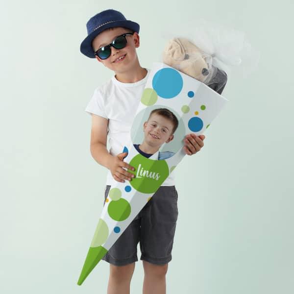 Schultüte für Jungen mit Foto und Name