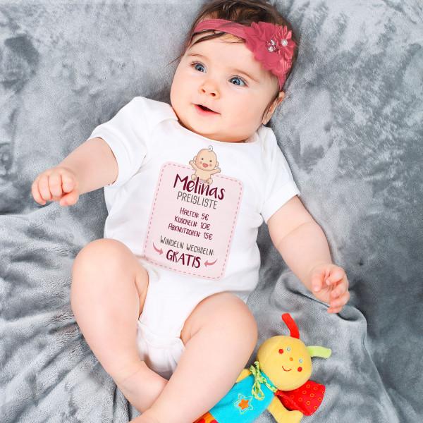 lustiger Babybody für Mädchen mit Ihrem Wunschnamen